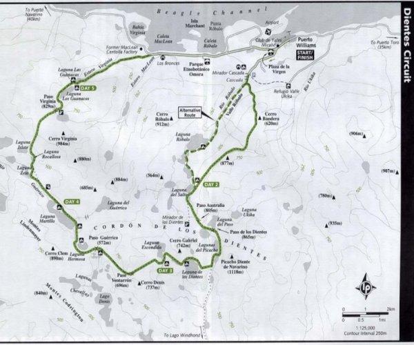 Mapa Trekking Dientes del Navarino