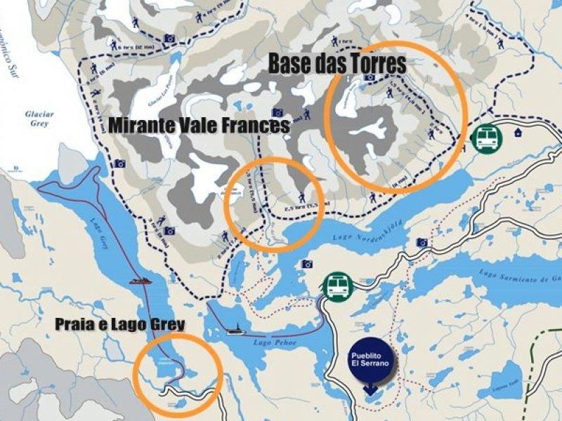 Mapa W Curto Torres del Paine