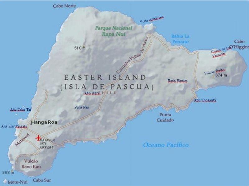 Ilha Pascoa -  Rapa Nui - Mapa