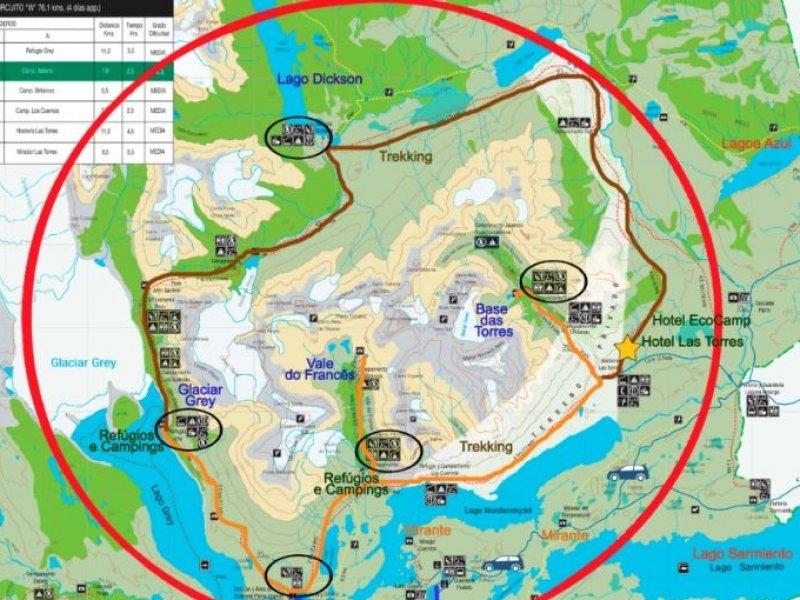 Mapa Grande Circuito Paine - 360 Graus