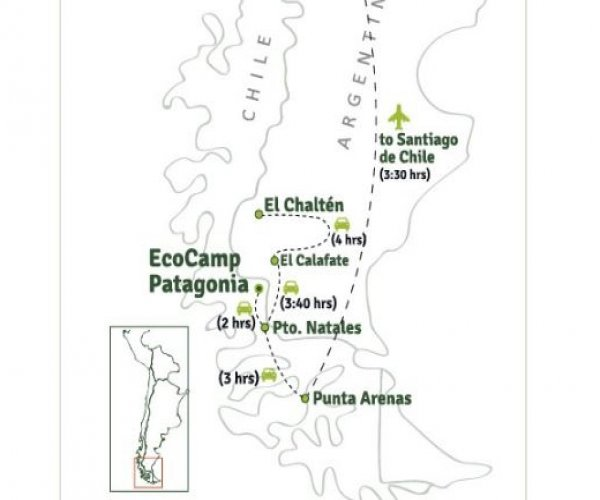 localização Ecocamp Chile - Parque Torres del Paine