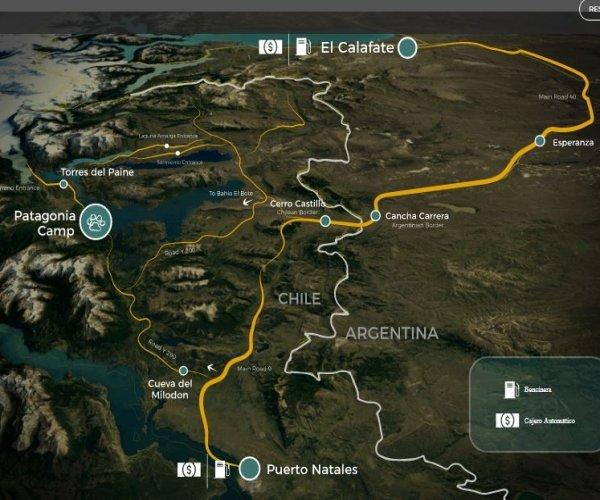 localização Patagonia Camp Chile - Parque Torres del Paine