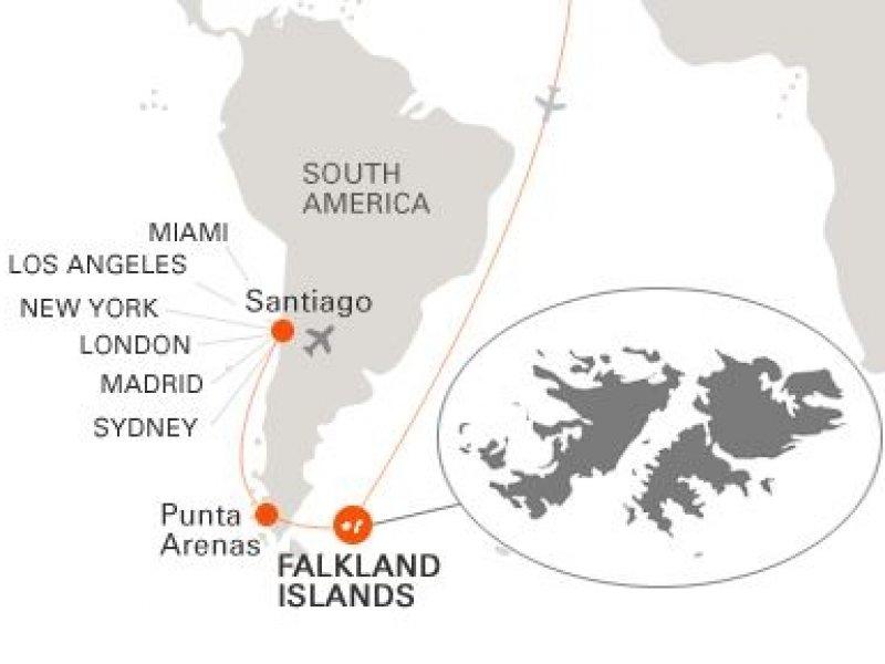 Ilhas Falklands(Malvinas) - Mapa