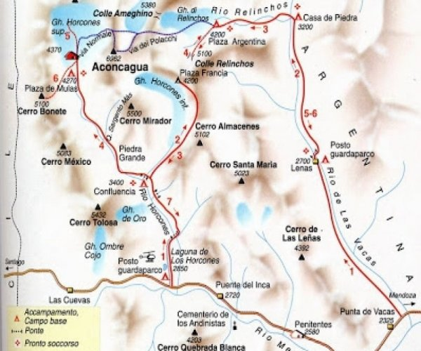 Mapa Trekking Horcones - Confluencia - Plaza Francia