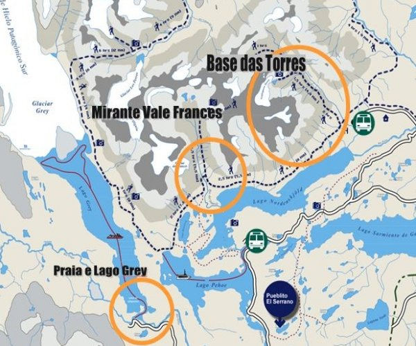 Mapa W Curto Torres del Paine