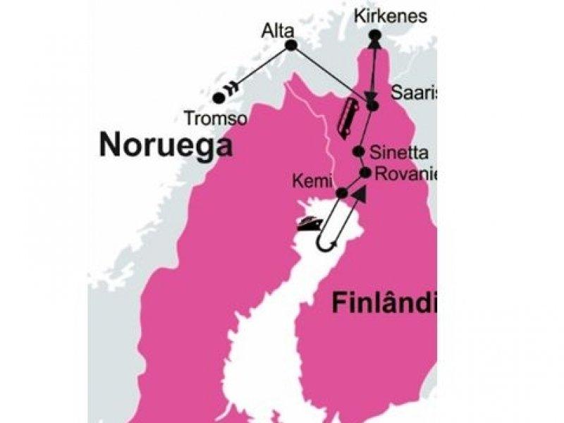 Mapa - Inverno na Laponia - Aventura Artica - Noruega e Finlandia